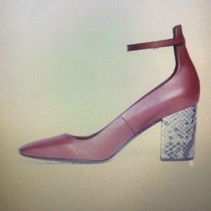 Brooks Brothers Burgundy Block Snake Print Heels